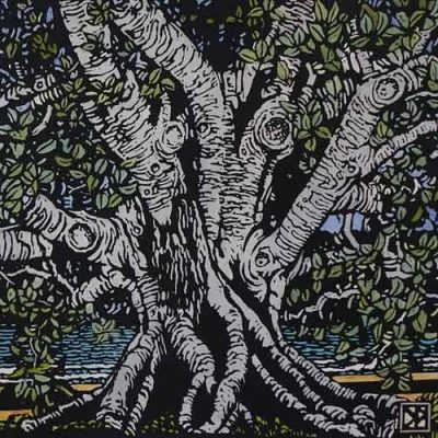david preston fig at balmoral linocut print