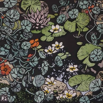 floating frangipani, david preston linocut